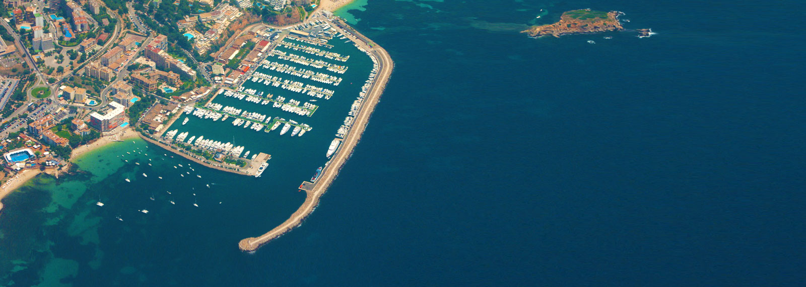 Calvia property market, harbour aerial view.
