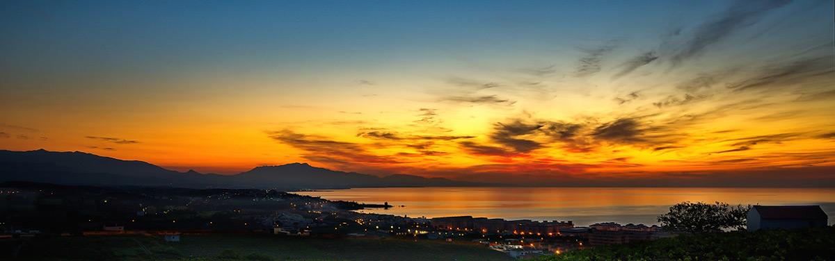 Beautiful sunset over Estepona West property setting.